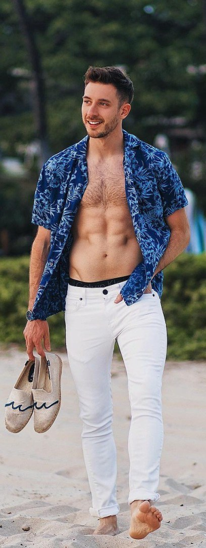 beach-outfit-men-open-shirt-with-denim