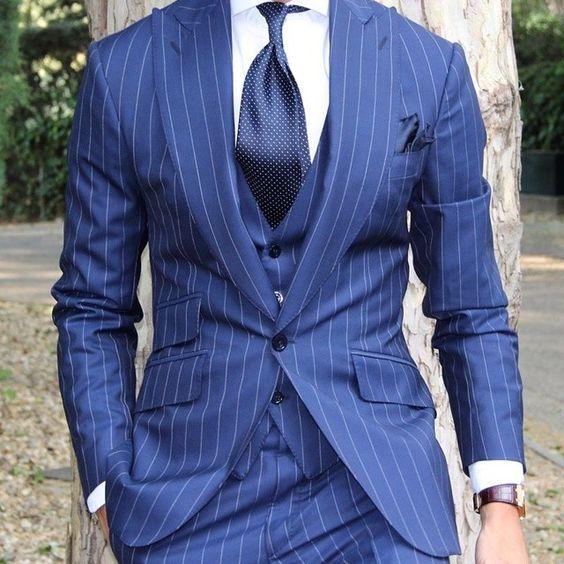 Light blue pinstripe suit