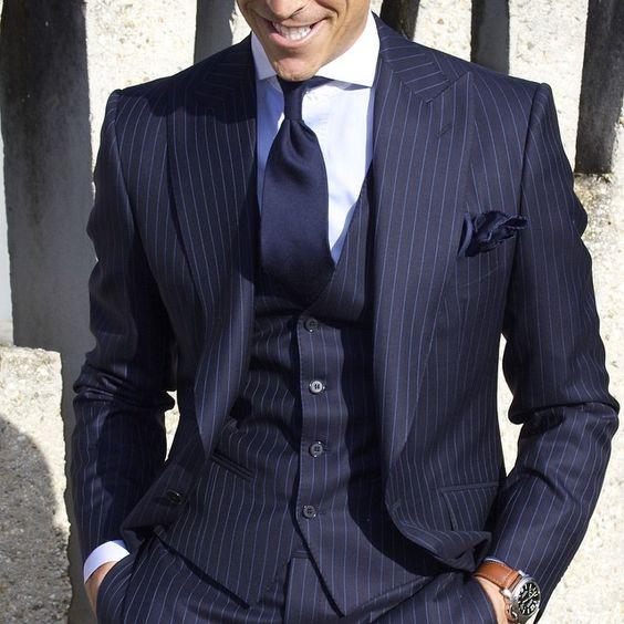 blue pintstripe suit