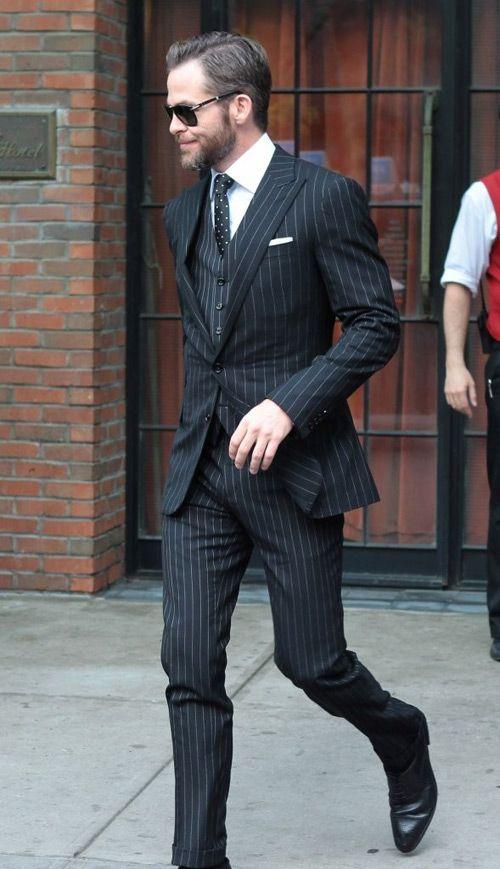 black pinstripe suit